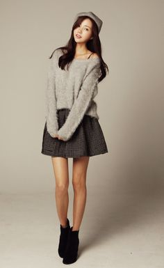 Cute combo. The sweater's a little too fuzzy.