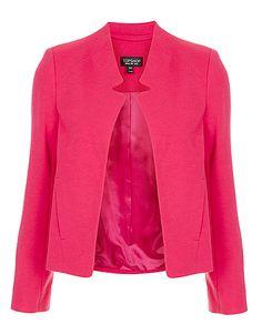 Topshop, Ponte Notch Neck Jacket, Bright Pink, C$72