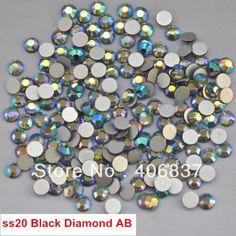 Free Shipping! 1440pcs/Lot, ss20 (4.8-5.0mm) Black Diamond AB Flat Back Non Hotfix Glue On Nail Art Rhinestones