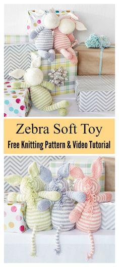 Baby Knitting Patterns Toys Zebra Soft Toy Free Knitting Pattern and Video Tutorial Animal Knitting Patterns, Crochet Toys Patterns, Stuffed Toys Patterns, Baby Patterns, Clothes Patterns, Dress Patterns, Knitting For Kids, Loom Knitting, Free Knitting