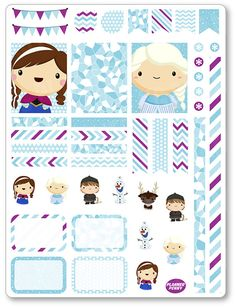 Frozen Friends Decorating Kit / Weekly Spread Planner Stickers for Erin Condren Planner, Filofax, Plum Paper Free Planner, Planner Pages, Happy Planner, Planner Ideas, Planners Like Erin Condren, Erin Condren Life Planner, Stickers Kawaii, Custom Planner, Calendar Stickers