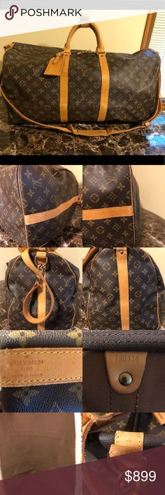 """Authentic Louis Vuitton Keepall 55 Bandouliere Authentic Louis Vuitton Keepall 55 Bandouliere. Comes with the luggage tag set and the strap, all authentic Louis Vuitton. Stained, aged, and darkened leather. Dimensions:W56xH30xD25.5cm  (W22.04""""x H11.81""""x D10.03""""). Date code: TH0936. Scuffed monogram and leather. Tarnished hardware. Clean inside. Zipper works great. No trades. Louis Vuitton Bags Travel Bags"""
