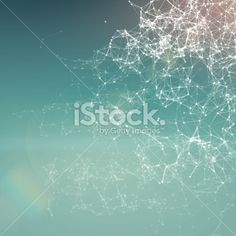Fresh summer abstract background. Connecting dots, lens flare Royalty Free Stock Photo