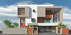Residence in Gandhinagar Duplex House Design, Modern House Design, Apartment Design, Building Elevation, House Elevation, Contemporary House Plans, Contemporary Apartment, Front Elevation Designs, Villa Design