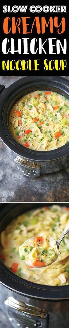 Slow Cooker Creamy Chicken Noodle Soup - The creamiest chicken noodle soup ever! Made effortlessly in your crockpot. Even the pasta gets cooked right in!