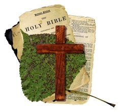 A vintage collage with a Christian cross.