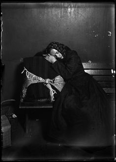 Lewis W. Hine (1874-1940) - Slovak Woman Immigrant Taking Nap on Baggage, 1905. via George Eastman House Collection. S)