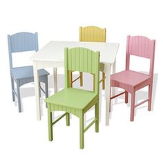Kids Furniture - KidKraft Nantucket White Table and 4 Pastel Chair Set - Plain and Simple Deals - no frills, just deals Kids Table Chair Set, Kids Play Table, Kid Table, Baby Table, Furniture Decor, Painted Furniture, Outdoor Furniture Sets, Refinished Furniture, Furniture Showroom