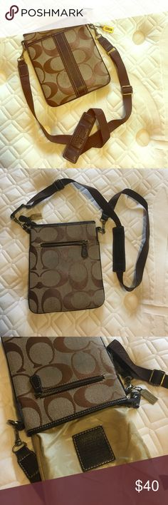 Coach Purse Coach crossover purse with adjustable strap. Good outside condition. A little wear and tear on the inside liner. Coach Bags Crossbody Bags