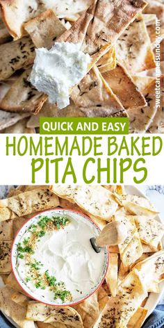 Oven baked pita chips are quick, easy and delicious! For a healthy crispy chip that can be dipped, dunked or loaded, try this simple recipe! #pitachips @sweetcaramelsunday