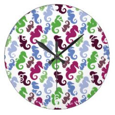 Seahorses Pattern Nautical Beach Theme Gifts Clocks