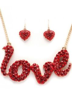 RED CRYSTAL LOVE NECKLACE & EARRING SET - COSTUME JEWELLERY - Fashion Necklace Sets - Necklace Sets - Jewellery