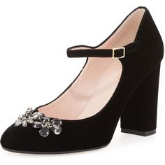 kate spade new york ballina crystal velvet mary jane pump ($380) ❤ liked on Polyvore featuring shoes, pumps, black, black pumps, black mary jane shoes, black strap pumps, block heel pumps and strappy pumps