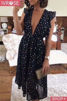 Deep V- Neck Dot Ruffles Design Casual Dress - - Deep V- Neck Dot Ruffles Design Casual Dress Source by celesteyymar Mode Outfits, Dress Outfits, Casual Dresses, Casual Outfits, Fashion Dresses, Teen Outfits, Tomboy Outfits, Hijab Dress, Modest Fashion