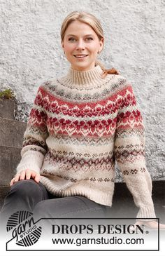 Mistletoe Muse / DROPS 217-1 - Gratis strikkeoppskrifter fra DROPS Design Drops Design, Knitting Patterns Free, Free Knitting, Crochet Patterns, Icelandic Sweaters, Nordic Sweater, Fair Isle Knitting, Hand Knitted Sweaters, Jumpers For Women