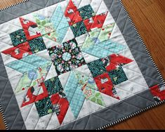 Barn Star, Country Table Topper, Blue, Red, Grey, White Quilted Runner, Candle Mat, Handmade Mini Quilt Wall Hanging 20.5 x 20.5 inches