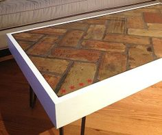 Charming Reclaimed Brick Coffee Table With 4 Chicago Stars Inlaid | Custom Furniture  In Chicago