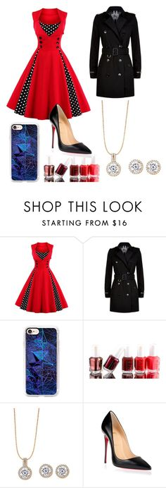 """""""Red"""" by annawell-1 ❤ liked on Polyvore featuring Burberry, Casetify, Essie and Christian Louboutin"""