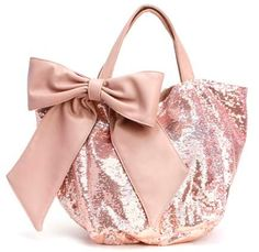 """DEUX LUX """"LUCKY"""" MEDIUM REVERSIBLE SEQUIN TOTE WITH BOW IN BLUSH"""