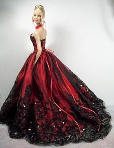 beautiful red gown with black beading:
