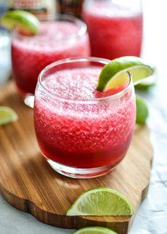Your summer needs some Tart Cherry and Beer Hibiscus Margaritas in it! | www.cookingandbeer.com