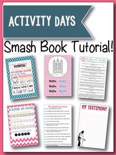 SMASH Book Tutorial!  Make this cute SMASH book for your Activity Days Girls.  Free Printables.  www.latterdayvillage.com #activitydays #faithingod #articlesoffaith