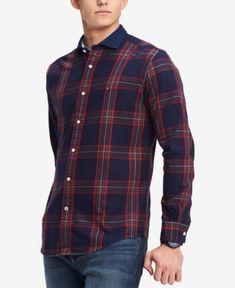 a5c8d4a7f Tommy Hilfiger Men's Vaga Classic-Fit Plaid Shirt - Blue XXL Casual Button  Down Shirts