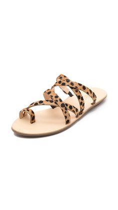 e582e0f695695 Loeffler Randall Sarie Haircalf Strappy Flat Sandals Leopard Sandals