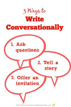 3 practical ways to write conversationally- especially online. Word Wise at Nonprofit Copywriter Creative Writing Jobs, Online Writing Jobs, Easy Writing, Freelance Writing Jobs, Writing Advice, Writing Resources, Writing Prompts, How To Get Motivated, Professional Writing
