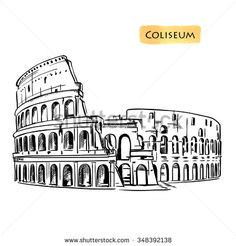 Coliseum in Rome, Italy. Colosseum hand drawn vector illustration isolated over white background sketch - stock vector