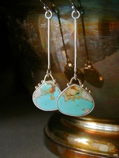 Nevada Boulder Turquoise Earrings in Sterling Silver and 14kt Gold