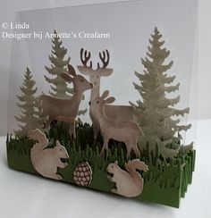 Best 12 handmade card … steps … acetate … die cuts … die forest creatures and trees stand up along acordion folded base … clear acete base … delightful Fall Cards, Winter Cards, Christmas Cards, Winter Christmas, Xmas, 3d Cards, Pop Up Cards, Fancy Fold Cards, Folded Cards