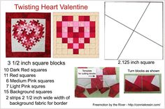 Twisting heart valentine tutorial freemotion by the river lil twister squaredance pattern twister quilt block tutorial just creating in my studio Quilting Rulers, Quilting Tips, Quilting Tutorials, Machine Quilting, Small Quilts, Mini Quilts, Quilt Block Patterns, Quilt Blocks, Flick Flack