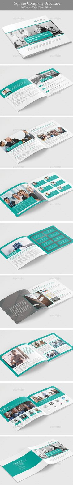 Square Company Brochure Template InDesign INDD - 16 Pages