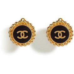 CHANEL VINTAGE JEWELRY Golden And Black Double C Earrings found on Polyvore
