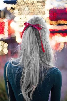 Granny Hair trend. Bleaching the hair, then toning grey. I think this trend is great. Hope it lasts. Love the red bow. So pretty.