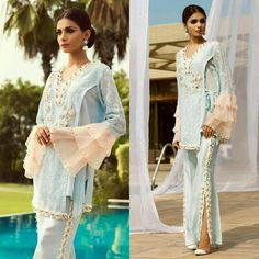 Sky Blue Embroidered Breeze Has Our ❤ On Point Floral For This Summer by ✨ Pakistani Models, Pakistani Outfits, Indian Outfits, Chic Outfits, Fashion Outfits, Trendy Suits, Salwar Designs, Pakistan Fashion, Fashion Tights