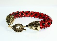 Everyone just loves this red and black beaded kumihimo bracelet. This one is made using ruby red and shiny black Japanese magatama beads. In