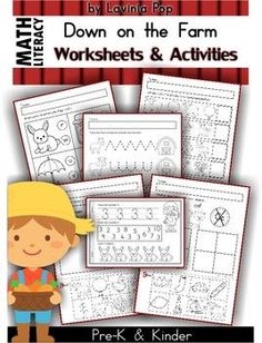 MEGA Math & Literacy Worksheets & Activities - Down on the Farm. 100 Pages in total!! Fun and educational unit for Pre-K and Kindergarten! FREEBIES in the preview!