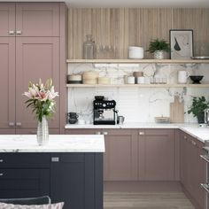 This simplistic shaker door with timber grain finish offers you endless possibilities to create your perfect statement kitchen and living space Kitchen Paint, Kitchen Design, Kitchen Cabinets, Kitchens And Bedrooms, Home Kitchens, Pink Kitchens, Larder Unit, Shaker Doors, Shaker Kitchen