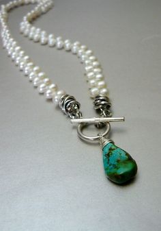 Freshwater+Pearls+and+Natural+Turquoise+Teardrop+by+pmdesigns09,+$56.00