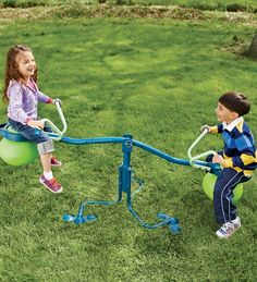 Spinning-Seesaw-and-Hop-Ball-in-One Spiro Hop Outdoor Toy-would be a good combo birthday gift