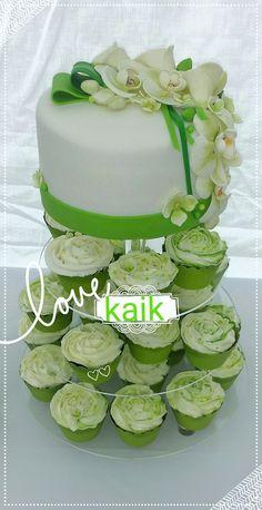 cake and cupcake wedding cake greenand white by kaik