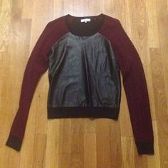 Parker leather sweater Leather front panel detailing, maroon netted sleeves. Back is plain black sweater materials. Fitted. Worn once brand new! Parker Sweaters