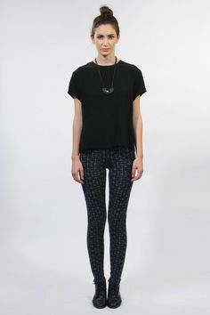 95abe68b8 Micaela Greg wool fragment leggings in Navy with grey grid design. 2 rib at  waistband and 1 rib at the ankle.