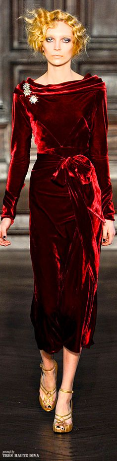L'Wren Scott - dark red velvet couture - 2012
