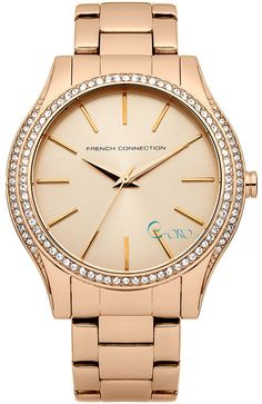 French Connection Ladies All Rose Gold Bracelet Watch - Beautiful Watches, Metal Bracelets, French Connection, Watch Brands, Michael Kors Watch, Gold Watch, Bracelet Watch, Quartz, Rose Gold