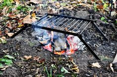 Folding Grill Large Bushcraft Portable Grill Made in USA Camping grill Handforged Bushcraft cooking backpacker hiking outdoors Bushcrafting Camping Grill, Portable Grill, Barbecue Grill, Grilling, Camping Cooking, Outdoor Cooking, Camping Gear, Built In Grill, Diy