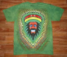 This is a printed version of my Rasta Man Design. The original goes for $100.00, because it takes about six hours to prepare for dye, but thanks to the water based jet print technique designed by The Mountain Corporation, of Keene New Hampshire, I am able to sell these prints for $25.00      Wholesale inquiries are welcome~