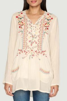 Johnny Was Embroidered Henley Blouse